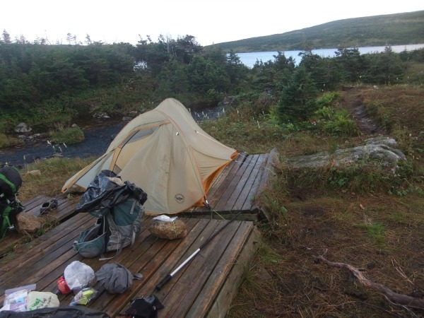 Broken tent pads at Long Pond